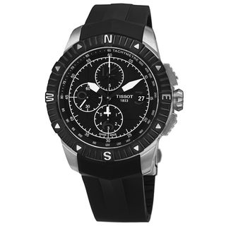 Tissot Men's T062.427.17.057.00 'T Navigator' Black Dial Black Rubber Strap Chronograph Watch
