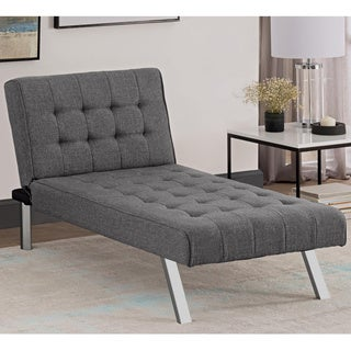 DHP Emily Grey Linen Chaise Lounger