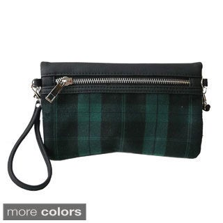 Olivia Miller Plaid and Solid Clutch Crossbody Bag