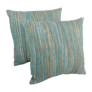 Blazing Needles 20-inch Blue/ Beige Striped Woven Yarn Pillows (Set of 2)