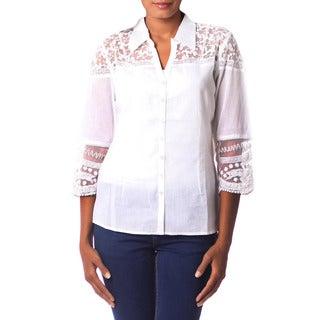 Handcrafted Cotton 'Flirty Foliage' Shirt (India)
