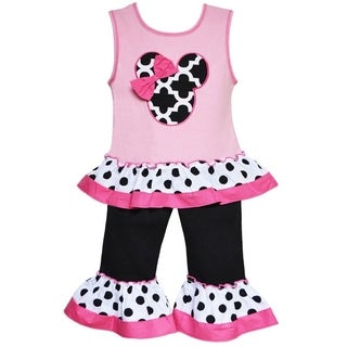 AnnLoren Boutique Girls Mouse Lattice and Polka Dots Top with Capris