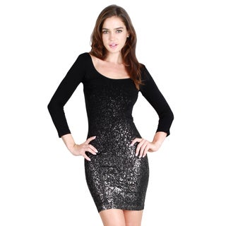 Nikibiki Women's Seamless Glitter Three Quater Sleeve Scoop Neck Dress