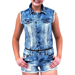 Women's Blue Denim Zipper Detachment Romper