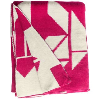 Santa Cruz Knit Beetroot Pink and White Cotton Throw (India)