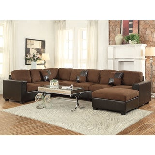 Dannis saddle microfiber reversible sectional sofa for Odessa waffle suede reversible sectional sofa with ottoman
