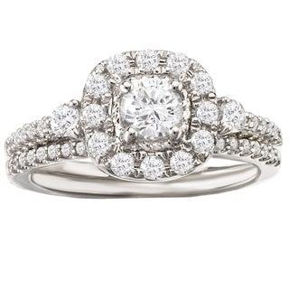 Avanti 14k White Gold 7/8ct TDW Cushion Halo Diamond Bridal Ring Set (G-H, SI1-SI2)