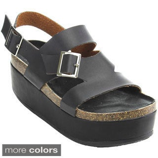 Bumper Women's 'Tory-02' Platform Ankle Strap Sandals