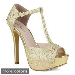 Celeste Women's Alle-01 Ankle Strap Diamond Peep-toe High Heel