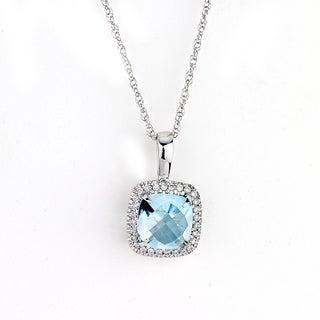 Neda Behnam DFAC 14k White Gold 1/6ct TDW Diamond Halo and Blue Topaz Necklace (G-H, SI1-SI2)