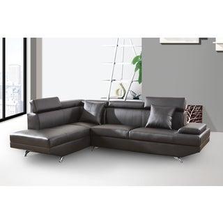 Elena Black Leather Modern 2-Piece Sectional Sofa Set