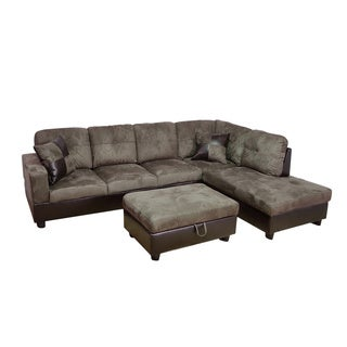 Delima 3-piece Grey Microsuede Right Chaise Sectional set with Storage Ottoman