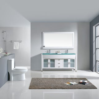 Virtu USA Ava 63-inch White Double Vanity Cabinet Set
