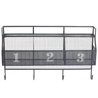 Grey Metal Wall Shelf with 3 Numbered Shelves and 4 Hooks