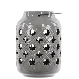 Gloss Grey Ceramic Lantern with Metal Handle Octagram and 4-point Star Design