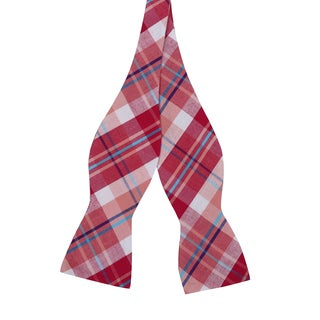 Skinny Tie Madness Men's Cotton Red Plaid Bowtie