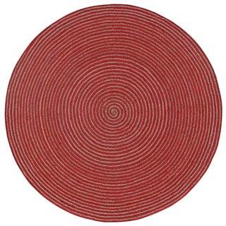Natural Hemp/ Red Cotton Racetrack (3'x3') Round Rug