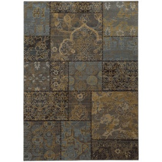 Heritage Patchwork Charcoal/ Blue Rug (9'10 X 12'10)