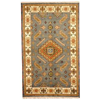 Herat Oriental Indo Hand-knotted Tribal Kazak Light Blue/ Ivory Wool Rug (3'2 x 5)