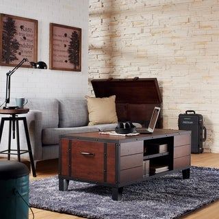 Furniture of America Sivenza Vintage Walnut Industrial Coffee Table