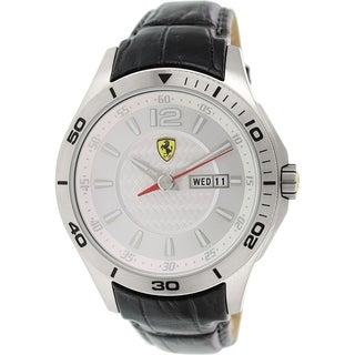 Ferrari Men's 0830092 Silver Leather Quartz Watch