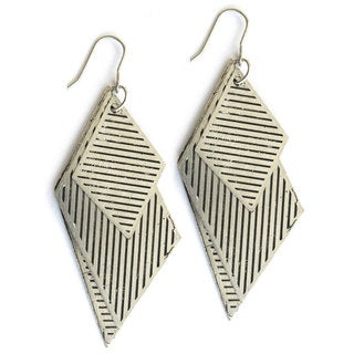 Silvertone Rhombus in the Rough Earrings (India)