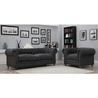Oxford Grey Linen Living Room Set
