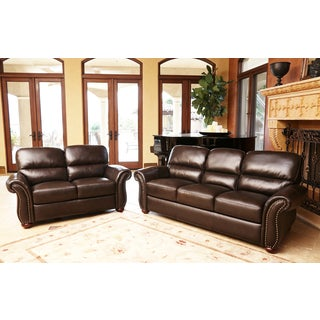 ABBYSON LIVING Monroe Top Grain Leather Sofa and Loveseat