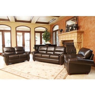 ABBYSON LIVING Monroe 3-piece Top Grain Leather Sofa, Loveseat, and Armchair