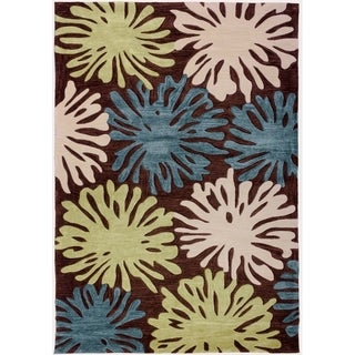 Space Dyed Cut Pile Hand-Tufted Fireworks Modern Wave Terra Brown Blue Green Abstract Geometric Polyester Rug (5' x 7'6)