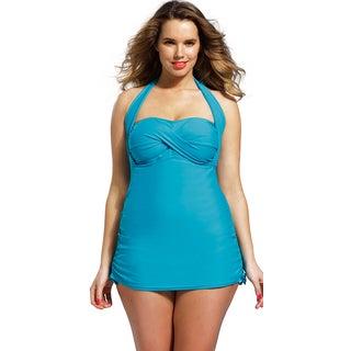 Shore Club Women's Plus Size Teal Bandeau/ Halter Swimsuit