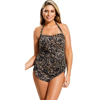 Beach Belle Women's Plus Size Taupe Firework Halter Sarong Front Swimsuit