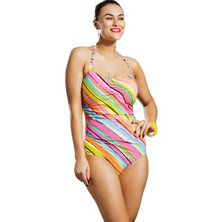 Anne Cole Women's Plus Size Painterly Stripe Shirred Front Bandeau Swimsuit