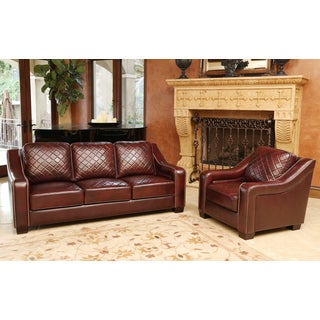 ABBYSON LIVING Sophia Burgundy Top Grain Leather Sofa and Armchair Set