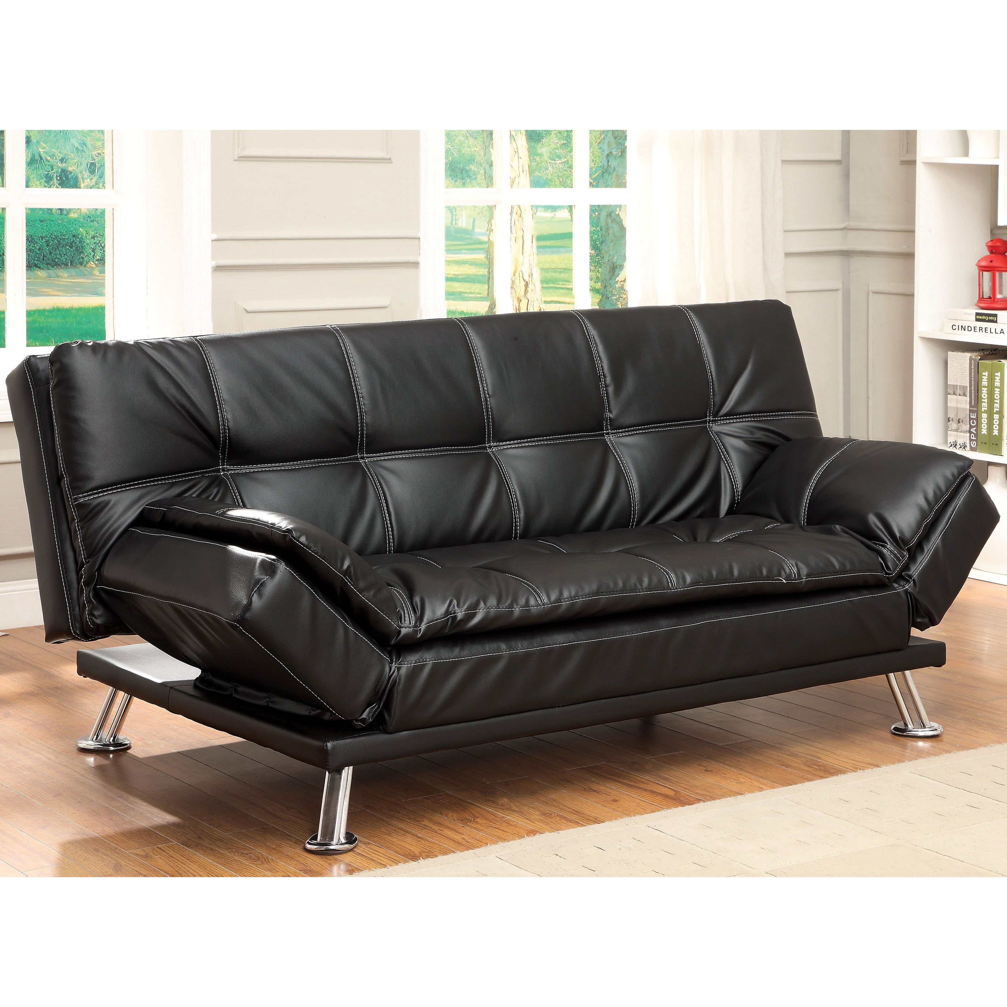 Furniture of america aubreth modern futon sofa overstock for Sofa bed overstock
