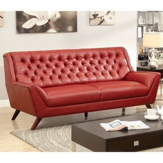 Furniture of America Valentino Mid-Century Modern Bonded Leather Sofa