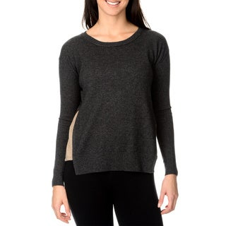 Ply Cashmere Women's Contrast Side Flare Insert Cashmere Sweater
