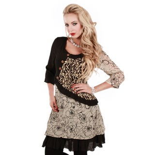 Women's Beige and Black Mixed Floral Print Tunic