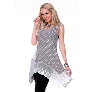 Women's Grey/ White Print Sleeveless Top