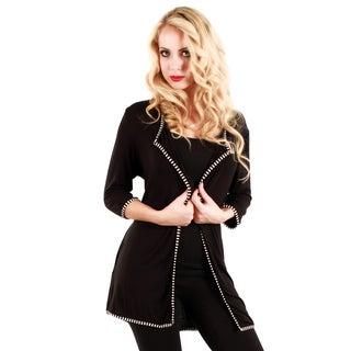 Firmiana Woman's Black/ White 3/4-length Sleeve Cardigan