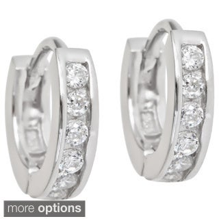 Sterling Silver Single Strand Micropave CZ Hoop Earrings