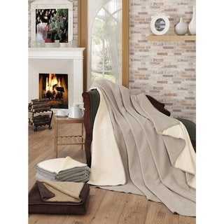 Solid Color Reversible Cotton Blend Plush Throw Blanket