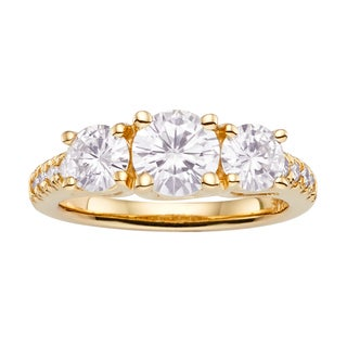 Charles and Colvard 14k Yellow Gold Forever Brilliant 2 1/4ct DEW Moissanite 3-stone Ring
