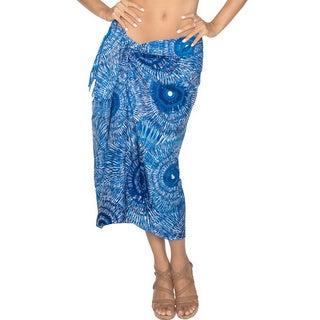 La Leela Blue Colored Self Printed Beach Swim Hawaiian Sarong Pareo