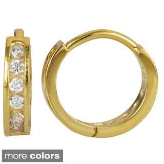 18k Gold over Silver Cubic Zirconia Single Row Hoop Earrings
