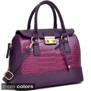 Dasein Fold Over Removable Shoulder Strap Croc Satchel