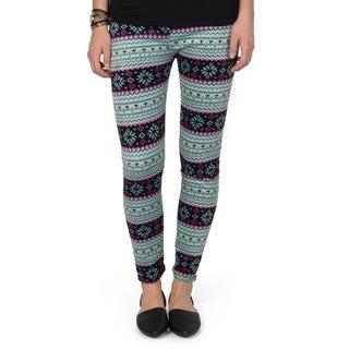 Hailey Jeans Co. Junior's Fair Isle Print Faux Fur Lined Leggings
