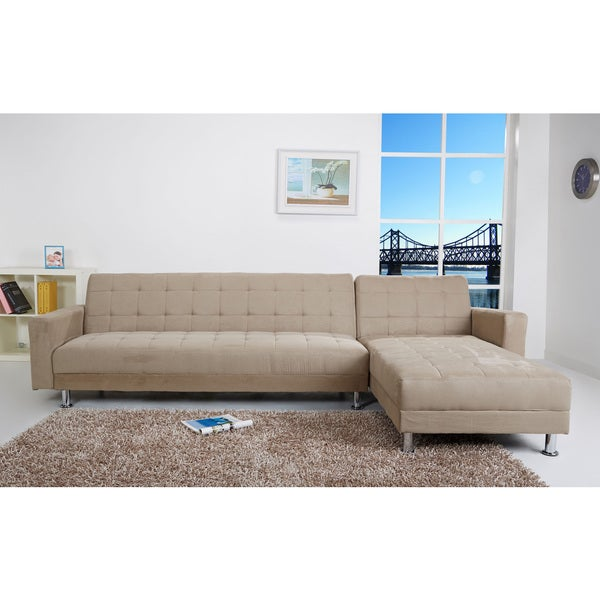 Frankfort stone finish convertible sectional sofa bed for Sectional sofa bed overstock