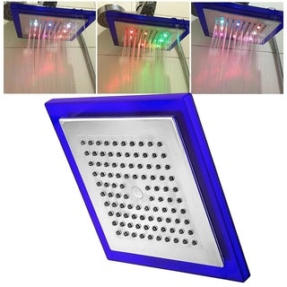 INSTEN 10-inch Silver 7 Colors Automatic Changing LED Square Shower Head