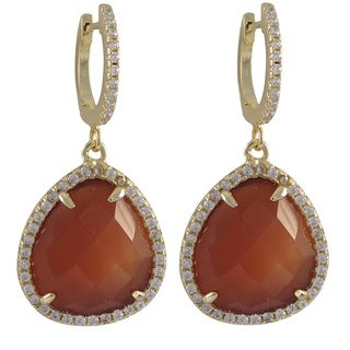 Sterling Silver Gold Finish Faceted Semi-precious Gemstone and Cubic Zirconia Teardrop Earrings